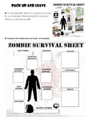 zombie survival guide - ESL worksheet by sandrel