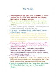 English Worksheet: Nut allergy for kids