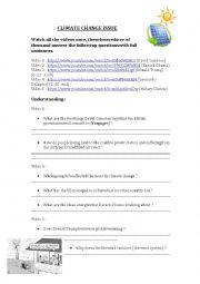English Worksheet: Climate Change Listening Comprehension