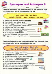 Synonyms vs Antonyms 8