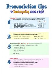 English Worksheet: Pronunciation tips for Spanish-speaking students