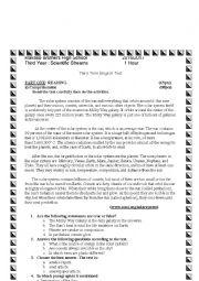 English worksheet: Third Year exam