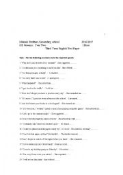 English worksheet: test about the reported speech
