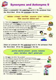 English Worksheet: Synonyms vs Antonyms 9