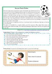 English Worksheet: Soccer Basic Rules