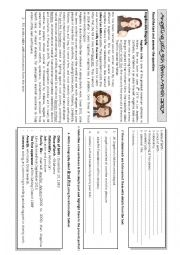 English Worksheet: reading and writing a biography