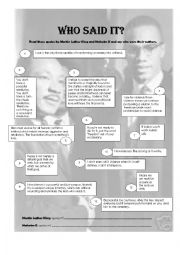 English Worksheet: Martin Luther King or Malcolm X? Who said it?