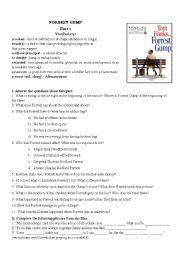 English Worksheet: Forrest Gump Movie Worksheet Part I