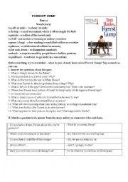 English Worksheet: Forrest Gump Movie Worksheet Part II