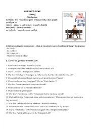 English Worksheet: Forrest Gump Movie Worksheet Part III