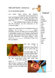 English Worksheet: The Lion King Chapter 2 activities