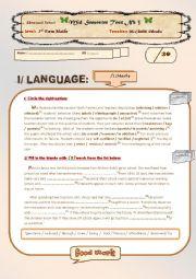 English Worksheet: a mid semester test 2, 3rd form