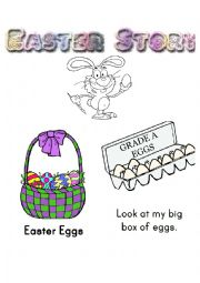 Easter easy reading with coloring story.