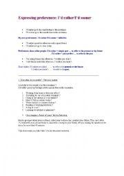 English Worksheet: Rather and Prefer