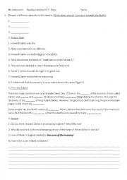 English Worksheet: Reading comprehension Curse of the mummy