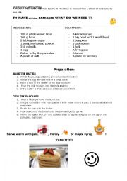 English Worksheet: KITCHEN LAB : pancakes