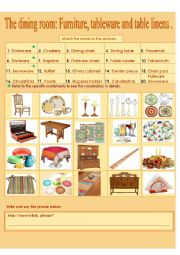 English Worksheet: The dining room: Furniture, tableware and table linens.