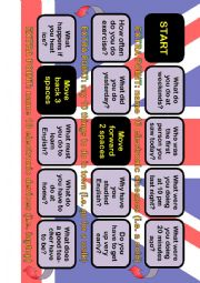 English Worksheet: A2 board game