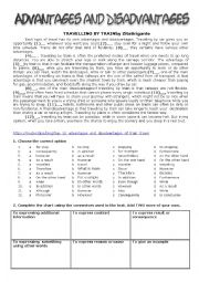 English Worksheet: Advantages and Disadvantages of Travelling By Train