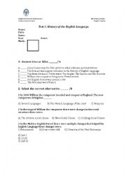 English Worksheet: Test on history of English language