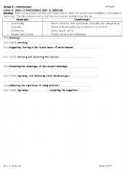 English Worksheet: module 5 lesson 1 means of entertainment part 1