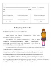 Reading comprehension and vocabulary test about daily routine