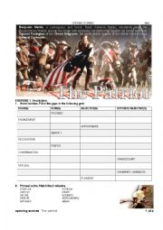 English Worksheet: The patriot - opening scenes