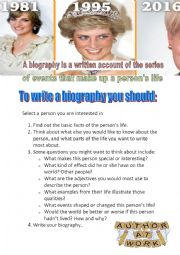 English Worksheet: Part One :A Guided writing about  how to write a biography