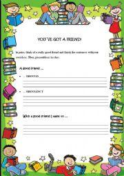 English Worksheet: You`ve got a friend!