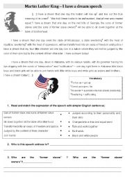 English Worksheet: I have a dream - Martin Luther King�s speech