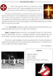 English Worksheet: Ku Klux Klan - Civil Rights Movement
