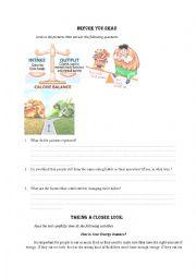 English Worksheet: Energy balance