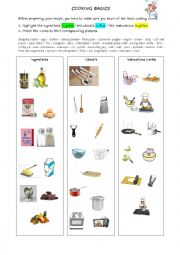 English Worksheet: Cooking basics