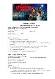 English worksheet: Stranger Things Season 1, Episode 1