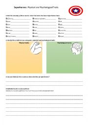 English Worksheet: Heroes: physical and psychological characteristics