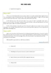 HIV AND AIDS WORKSHEET