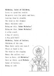 English Worksheet: Classical Saint Nicholas Day Poem
