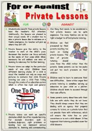 English Worksheet: For or Against Private Lessons. (Debating)