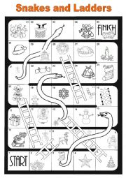 English Worksheet: snakes and ladders - christmas