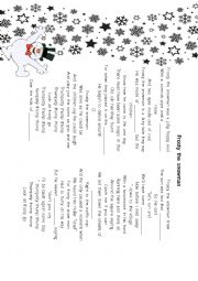 English Worksheet: Frosty the snowman song