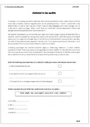 English Worksheet: Addicted to mobile