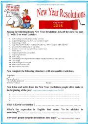 English worksheet: Listening NEW YEAR RESOLUTIONS (multi-activity) Debating - listening