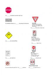 English Worksheet: road signs to practice modals