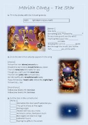 English Worksheet: Song Worksheet: The Star by Mariah Carey