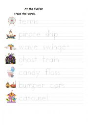 English Worksheet: Funfair tracing activity