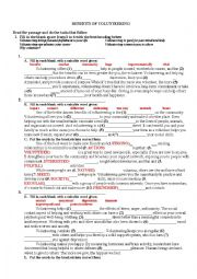 English Worksheet: BENEFITS OF VOLUNTEERING