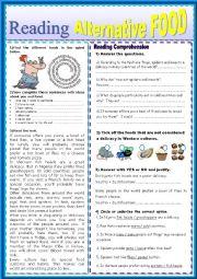 English Worksheet: English test ALTERNATIVE FOOD Reading Comprehension
