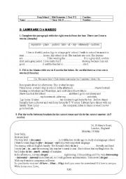 English Worksheet: Mid-Semester 1 test 2 8TH GRADE