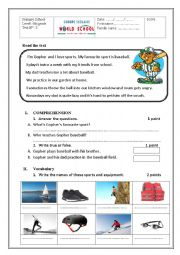English Worksheet: reading and language worksheet concerning sports
