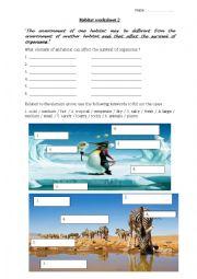 English Worksheet: Environment of an habitat